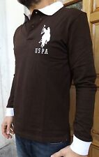 MEN`S NEW US POLO ASSN LONG SLEEVE POLO SHIRT XL BROWN SLIM FIT TOP GENUINE