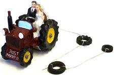 BRIDE AND & GROOM ON A BRIGHT RED TRACTOR WEDDING CAKE TOPPER DECORATION