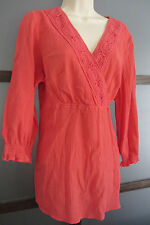 Tunic Top Cover up Coral Crochet Crinkle Crepe Sz Large Island Republic Women's