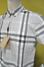 Burberry Brit Cotton Linen Grey Black Check Casual Dress Shirt Size M  NWT