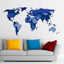New Colorful World Map Wall Decal For Office Removable Vinyl Sticker Decor DD115