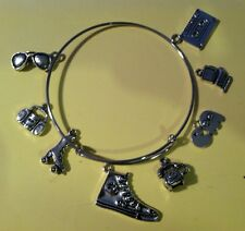 Silver Wire Expandable Bracelet I Love The 1980s Pacmam Boombox 8 Silver Charms