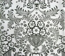 BLACK PARADISE LACE FLORAL ORNATE RETRO OILCLOTH VINYL SEW CRAFT DECO FABRIC BTY