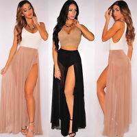 New Ladies Womens Sexy Long Jersey Maxi Dress Skirt Ladies Skirt Size 6-14 jrsy