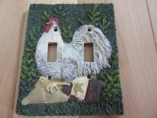 DOUBLE LIGHT SWITCH COVER WHITE CHICKEN IN THE GARDEN HOME DECOR