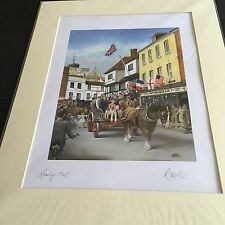 "large colourful signed  print of ""  1945 ve day scene in  romsey ""  ( p.willis )"