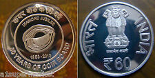 "INDIA 2014 UNC 60 RUPEES COMMEMORATIVE SILVER COIN ""60 YEARS OF COIR BOARD"""