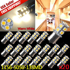 20x Warm White 1156 RV Camper Trailer 13-SMD 1141 1003 LED Interior Light Bulbs