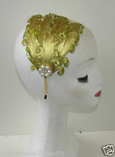 Gold Jahrgang Feder Stirnband Haarband Perlen Art Deko Flapper 1920s Downton Q37