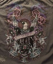 "Ed Hardy Men's Large Button Front ""Kiss of Death"" Long Sleeve Shirt"