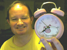 PINK LARGE BELLS PIG ALARM CLOCK GREAT STEAL ! LAST CHANCE SALOON