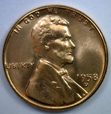 1958 D Uncirculated Copper Lincoln Cent BU Penny Wheat Cent Nice Denver Coin