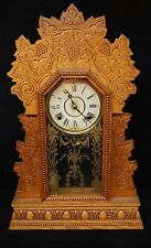 Antique William L. Gilbert Clock Co. Carved Mantel Clock Gilding Pendulum & Key