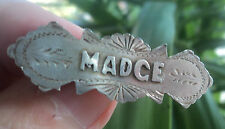Vintage Sterling Silver Name Brooch h/m 1917 Chester by W.H. Leather  -  MADGE