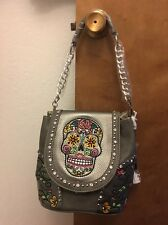Montana West Gray Sugar Skull Convertible Backpack Tote Crossbody Shoulder Bag