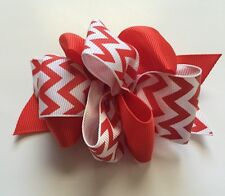 Red & White Chevron Hair Bow Spring Summer Birthday Girl Baby Stacked With Clip