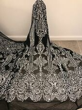 """BLACK STRETCH MESH W/SILVER  SEQUIN EMBROIDERY LACE FABRIC 52"""" WIDE 1 YARD"""