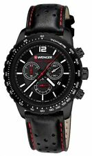 *BRAND NEW* Wenger Men's Black Chronograph Dial Padded Leather Watch 01.0853.105