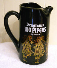 ✿ Seagrams 100 Pipers Scotch Pint Whisky Pitcher Bar Ware Bagpipe Player in Kilt