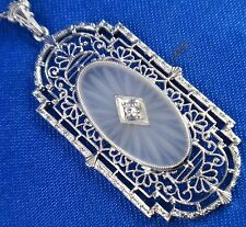 Vintage Art Deco 14K White Gold Genuine Diamond Camphor Glass Pendant Necklace
