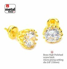 14k Gold Plated Round Solitaire CZ Stud Screw Back Hip Hop Earring SE 11827 G