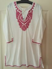 $168 NWT Soft JOIE White Tunic Top Blouse Mykelle E Pink Embroidery Size M Boho