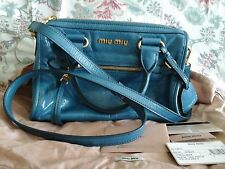 100% Auth Miu Miu Bauletto Vitello Shine RL0104 Satchel Crossbody Purse Bag