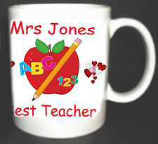 BEST TEACHER MUG.SCHOOL END OF TERM GIFT PERSONALISED WITH NAMES