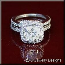 4.05 Ct MOISSANITE CUSHION HALO MICRO PAVE ANTIQUE BAND WEDDING SET RINGS