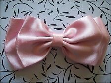 "HANDMADE PASTEL BABY PINK SATIN 4"" DOUBLE BOW HAIR CLIP CUTE RETRO 80'S GLAMOUR"