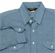 16-1/2 Large OshKosh Chambray Shirt Vintage Made in USA Blue Long-Sleeve Work