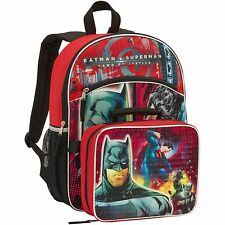 Batman vs Superman 16 inch Backpack w/ Detachable Lunch Bag