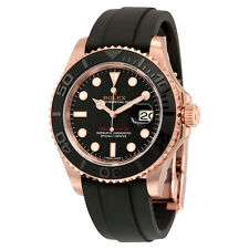 Rolex Yacht-Master Automatic Black Dial 18kt Everose Gold Black Rubber Strap