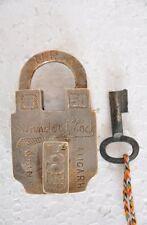 Old Brass 1940's Fancy Style Unique Shape Pad Lock, Aligarh
