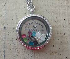 Floating Living Memory Locket Custom Personalized Necklace Nana MawMaw Blessings