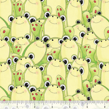 It's a Pond Party Packed Cute Frogs Green 100% cotton fabric by the yard