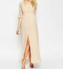 Branded Plunge Neck Pleated Flutter Sleeve Chiffon Maxi Dress UK 8/EU 36/US 4