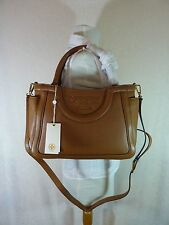 NWT Tory Burch Bark Brown Leather Small Serif T Tote/Cross Body Bag $495