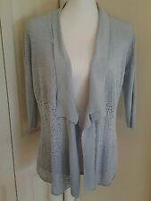 Eileen Fisher Silk Blend BabyBlue Washable Open Cardigan Crochet Dolman Petite S