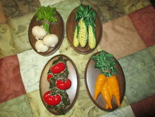 Vintage Ceramic Kitchen Wall Decor, Vegetables Onions Carrots Corn Tomatoes 1975