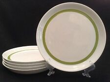 Crate and Barrel FIVE 10 1/2 Inch Dinner Plates -- Green Band