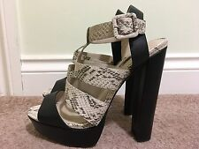 Topshop Black And Cream Strappy Part Leather Very High Heel Shoes Size 7 Eu 40