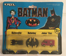 Vintage 1989 Batman Batmobile Batwing Joker Van Micro Size Vehicles ERTL NRFP