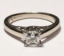 Beautiful 14K & Platinum .46ct Princess Cut Diamond Solitaire Engagement Ring