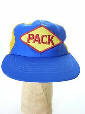 Vintage PACK Blue Yellow Snapback Mesh Trucker Hat Packers Ball Cap