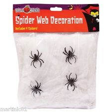 LARGE SPIDERSWEB +4 SPIDERS HALLOWEEN WEBBING SPIDER WEBS DECORATION WEB ITP