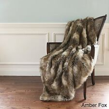 Wild Mannered Luxury Long Hair Faux Fur 58x60 inch Lap Throw Blanket, Amber Fox