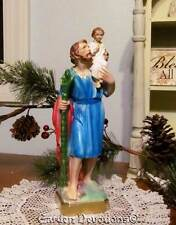 "Stunning 13"" ST. CHRISTOPHER CARRYING JESUS STATUE ~ PLASTER / CHALKWARE *Italy*"