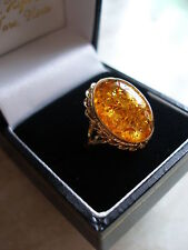 9CT GOLD LARGE AMBER DRESS RING BRAND NEW IN BOX MADE IN ENGLAND PURE QUALITY