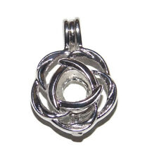 Flower Bead Cage Pendant Fits 7mm Bead or Pearl - Wish / Scented Locket